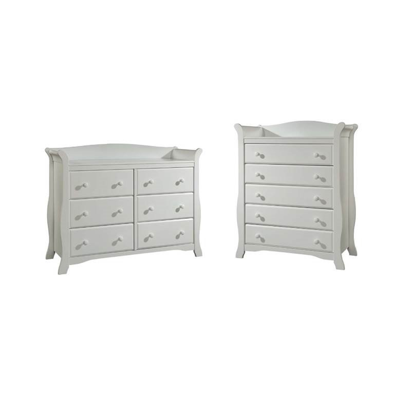 2 Piece Nursery Furniture Set with Dresser and Chest in White by Home Square