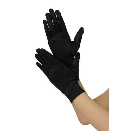 Green Satin Gloves (NYFASHION101 Solid Color Classy Elegant Formal Wrist Length Satin Gloves,)
