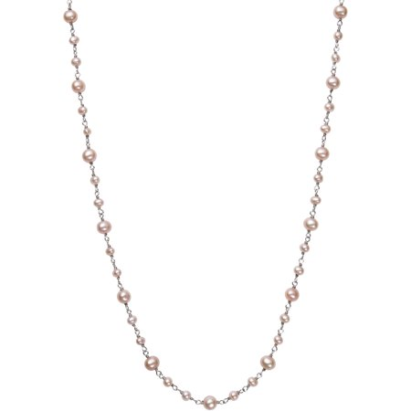 """Natural Pink Cultured Freshwater Pearl Sterling Silver Station Tin Cup Chain Necklace, 18"""""""