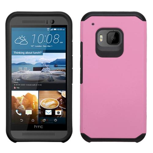 Insten Hard Hybrid Rugged Shockproof Rubberized Silicone Cover Case For HTC One M9 - Pink/Black