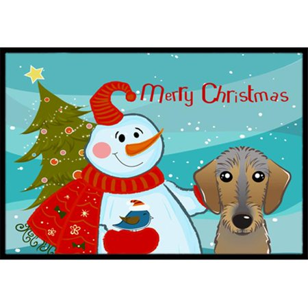 Carolines Treasures BB1853MAT Snowman With Wirehaired Dachshund Indoor & Outdoor Mat, 18 x 27 in. - image 1 of 1