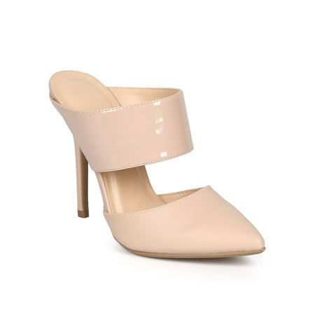 7817249fae8 Wild Diva - Wild Diva DK54 Women Leatherette Pointy Toe Stiletto Slip On  Mule Pump - Walmart.com