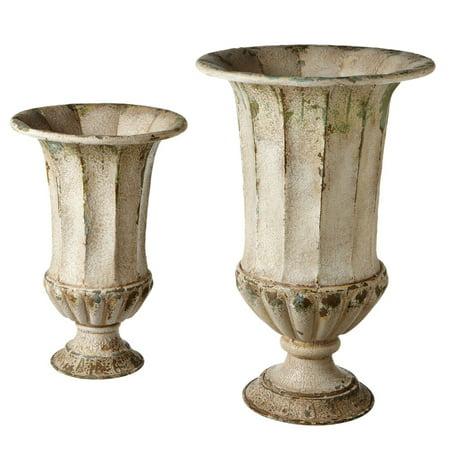 Set of 2 Antique-Style Distressed Finish Beautiful Ivory Urn Planter 24.25