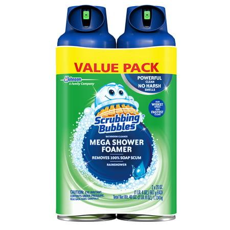 ((2 pack) Scrubbing Bubbles Mega Shower Foamer Aerosol, Rainshower, 2 pack, 20 Ounces)