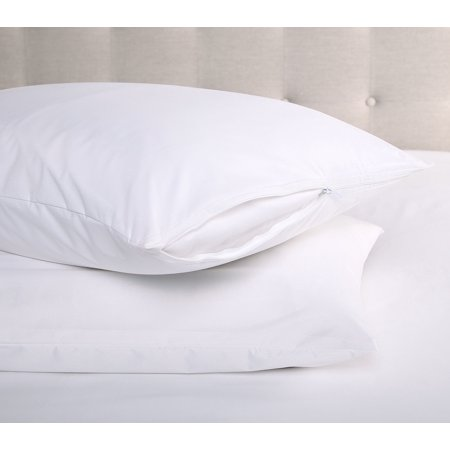 2 Pack Waterproof Hypoallergenic BedBug Zipper Pillow Protector - Standard/Queen ()