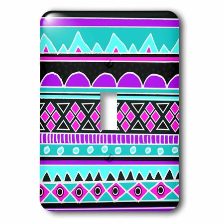 3dRose Bright tribal pattern - neon blue fluorescent hot pink purple black 80s aztec zigzag patterned rows, Single Toggle