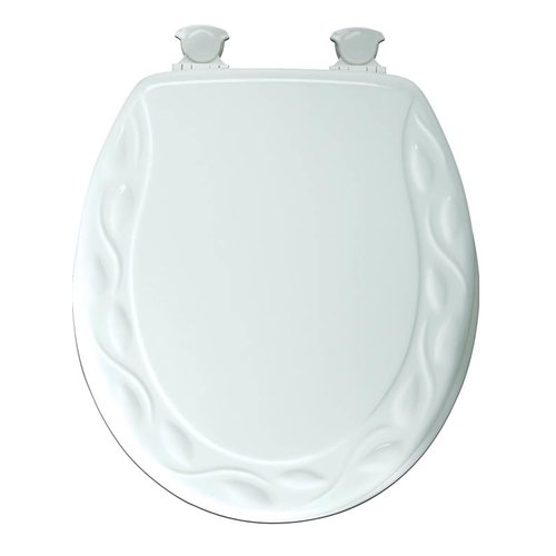 MAYFAIR Round Enameled Wood Ivy Design Toilet Seat in White with EasyClean & Change Hinge by Bemis Manufaturing Company