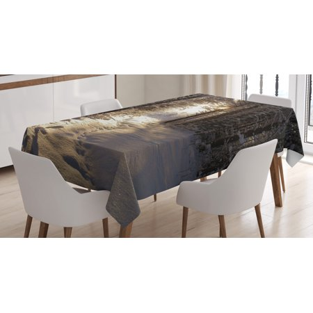 Winter Tablecloth, Christmas Season with Snow and Frozen Forest Sun Rays Very Cold Woods Scenery, Rectangular Table Cover for Dining Room Kitchen, 52 X 70 Inches, Brown Pale Yellow, by Ambesonne ()