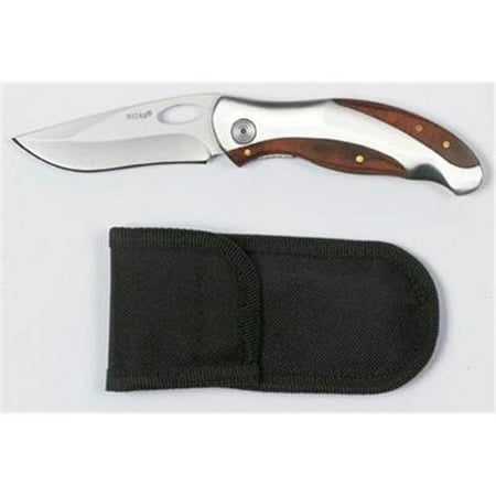 Maxam Liner Lock Knife with stainless steel blade and wood inlays SKMXD45
