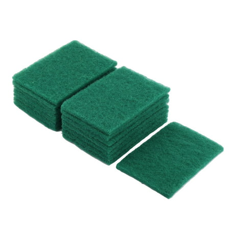 Household Kitchenware Sponge Bowl Dish Wash Cleaning Scrub Pad Green 15 Pcs Homewhen school renew (Green Scrubber)