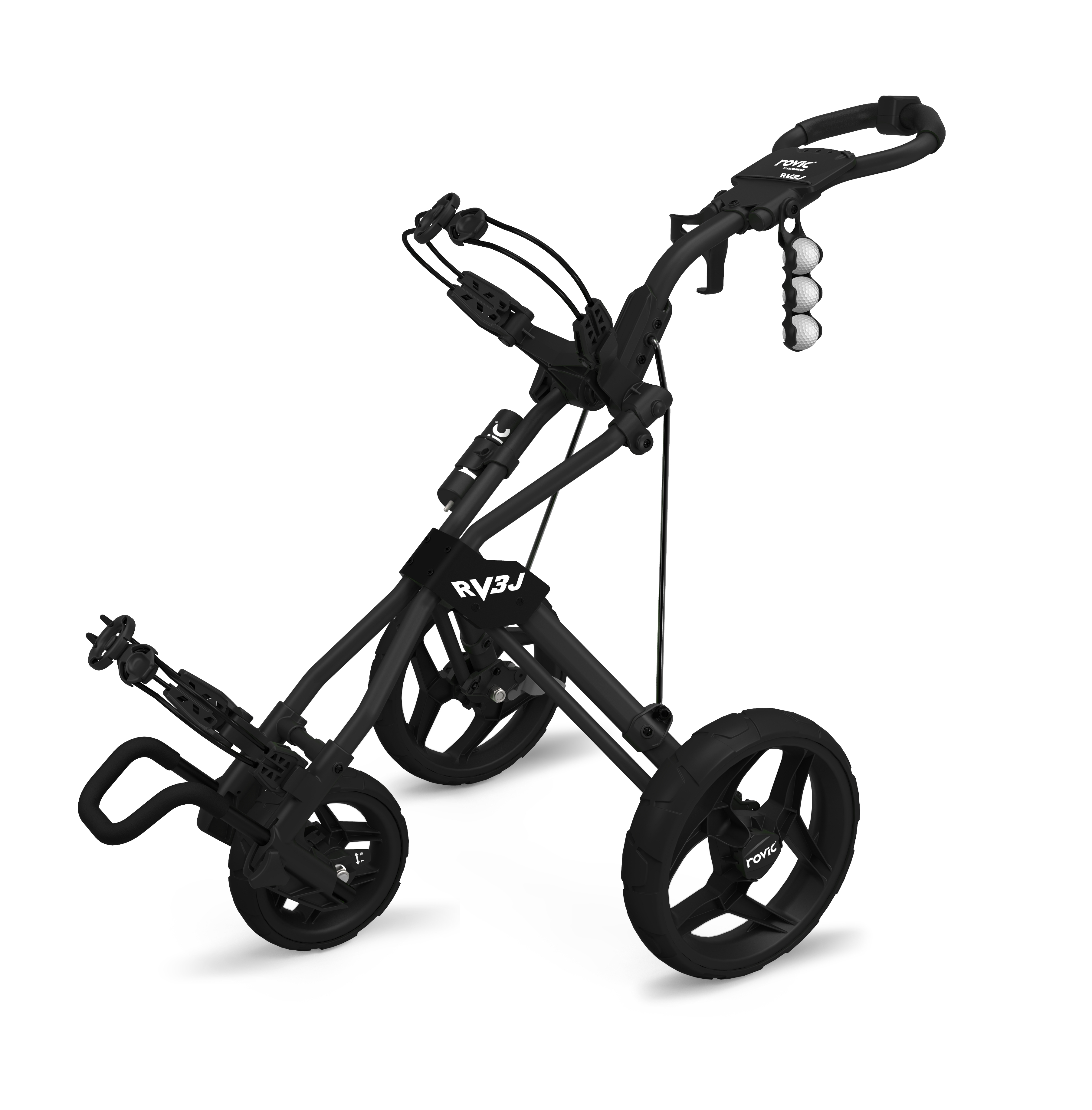 Rovic by Clicgear RV3J Junior 3-Wheel Golf Push Cart, Charcoal Black