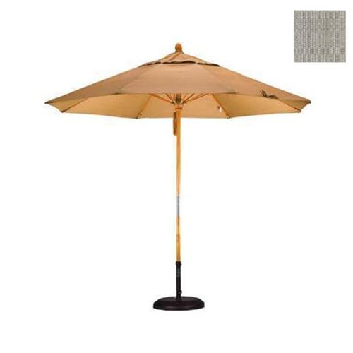 9' Fiberglass Market Umbrella Pulley Open Marenti Wood/Olefin/Woven Granite
