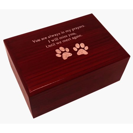 Petmemorials4u Engraved Paw and Poem Pet Memorial Urn, Pet Cremation Urn, Dog Urn,Cat Urn,Small Animal Urn, MDF Cherry finish Wood Pet Memorial