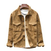 Men's Shirt Jacket Button Coat Corduroy Pockets Retro Winter Casual Lapel Tops