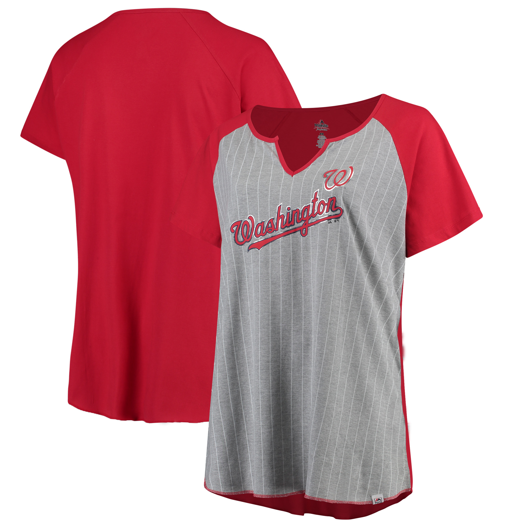 Washington Nationals Majestic Women's Plus Size From The Stretch Pinstripe T-Shirt - Gray/Red