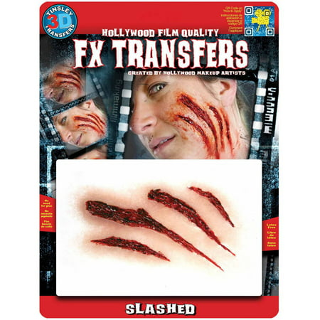 Transfers Medium Slashed 3D FX Adult Halloween Accessory (Halloween 3d Makeup)