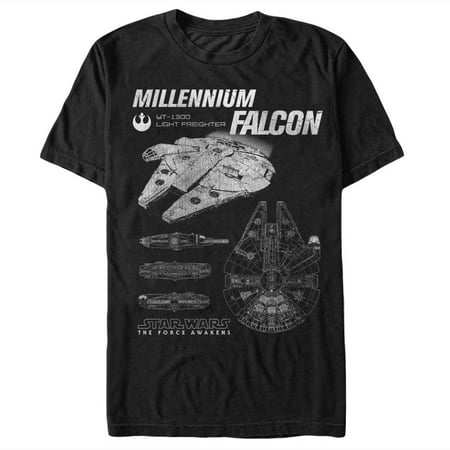 Aka Mens Tee - Star Wars The Force Awakens Men's Episode VII Millennium Falcon Blueprints T-Shirt