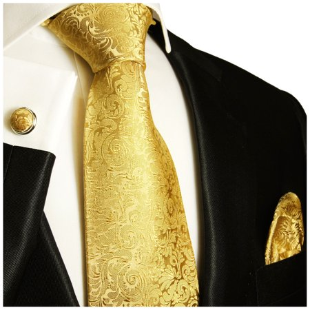 - Extra Long Gold Paul Malone Silk Men's Tie with Accessories