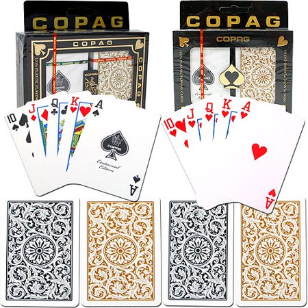 Trademark Poker 2pk Copag Regular Index 1546 Design Poker Cards, Black/Gold
