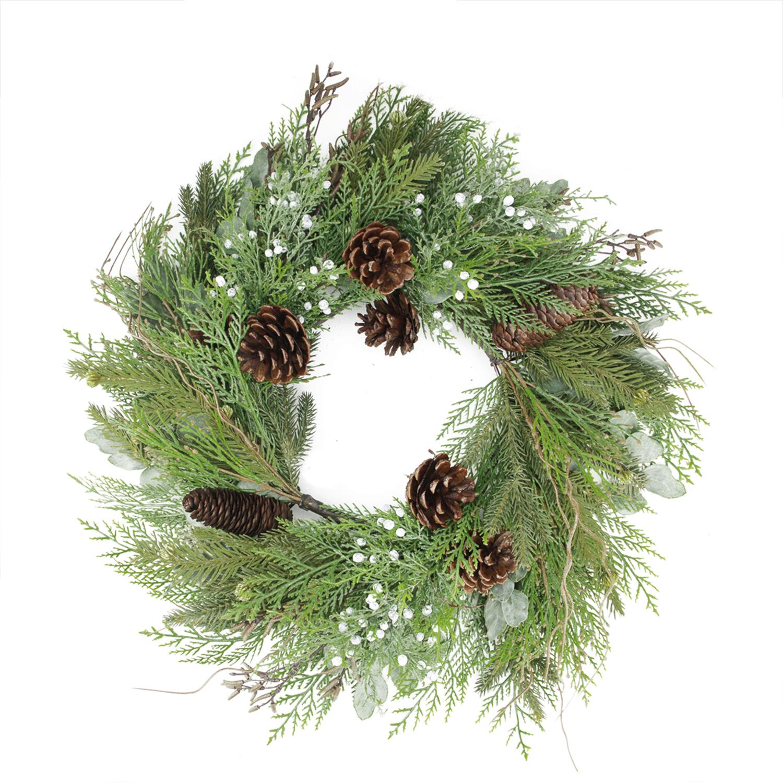 "24"" Mixed Cedar Pine Cone and Juniper Berry Artificial Christmas Wreath - Unlit"