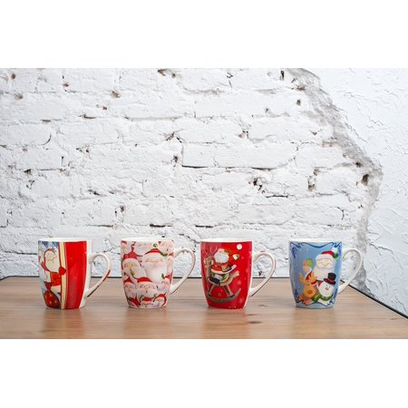 All For You X973 Christmas New Bone China Mug with Christmas Gift Prints Santa, Snow man-Set of 4, 12 Oz, Gift Box ()