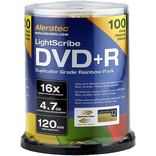 Aleratec DVD+R 16X LightScribe V1.2 Duplicator Grade Rainbow 100-Pack