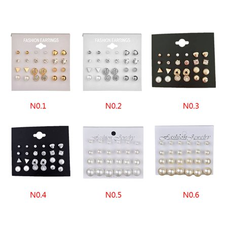 outdoorline 12 Pairs Rhinestone Geometric Shaped Women Girl Earrings Ear Studs Alloy Earrings Jewerly - image 5 de 9