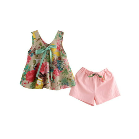 55530d46f Esho - 2Pcs Baby Girls Summer Outfits Floral Tops Tee Shirt + Shorts  Clothes Set - Walmart.com