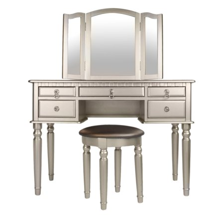 Prime Bobkona St Croix 3 Fold Mirror Vanity Table With Stool Set In Black Machost Co Dining Chair Design Ideas Machostcouk