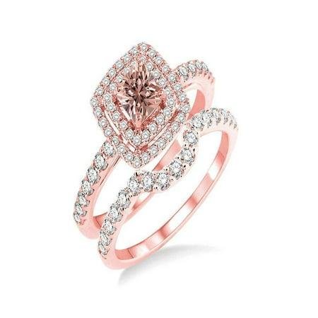 Jeenjewels Double Halo 1 50 Carat Princess Cut Morganite And Diamond Wedding Set In 14k Rose Gold Engagement Ring
