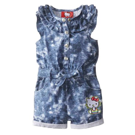 Hello Kitty Birthday Outfit (Hello Kitty Infant Girls Blue Denim Romper Outfit 1 Piece)