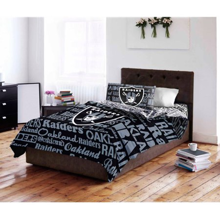 Nfl oakland raiders bed in a bag complete bedding set for Complete bedroom sets with mattress