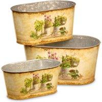 National Tree Artificial 3-Piece Painted Decorative Pot Assortment