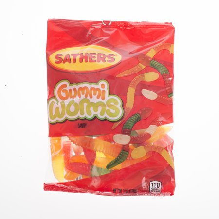 Sathers Gummi Worms Gummy Candy, 7 Ounce Bag