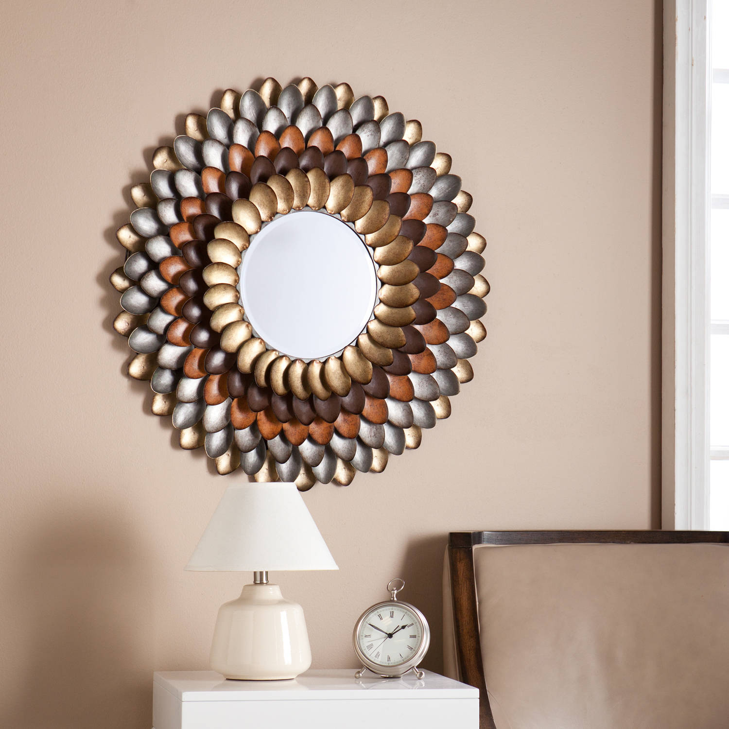Southern Enterprises Metallic Petals Decorative Round Mirror, Multicolor