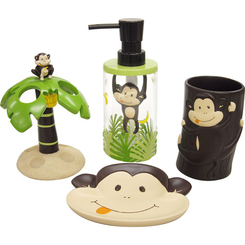 mainstays monkey 4-piece bath accessories set - walmart