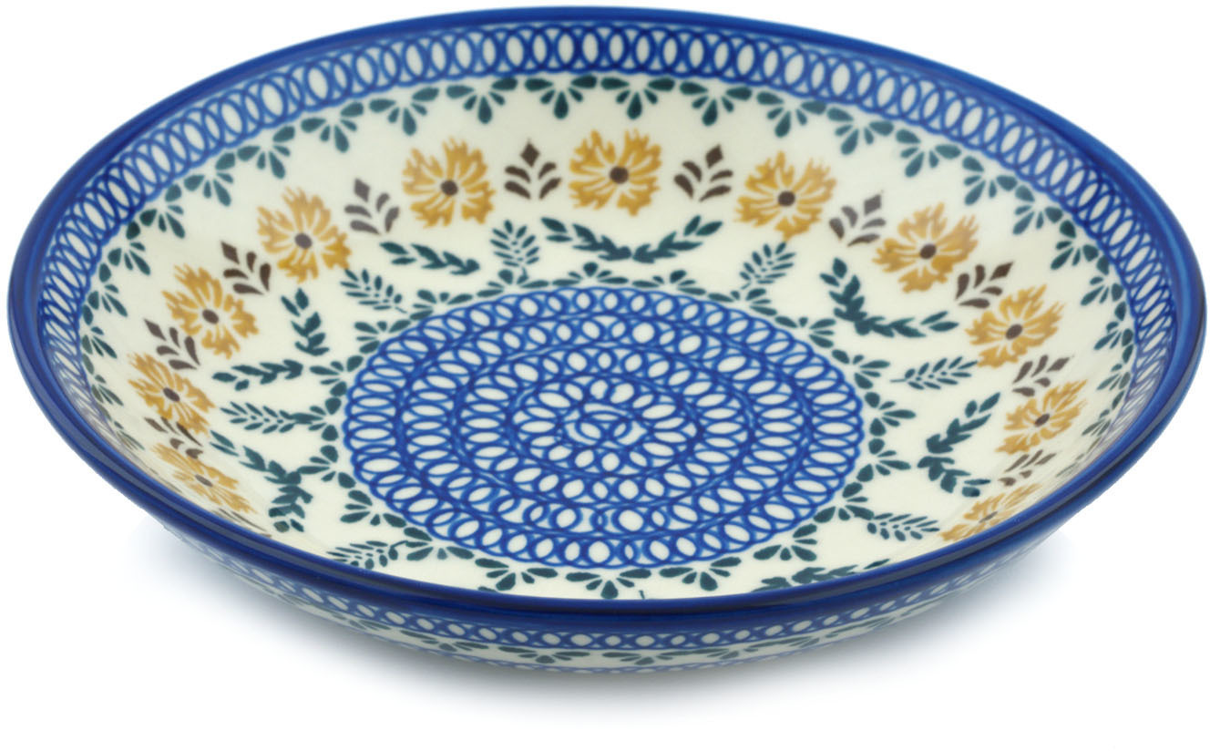 Polish Pottery 8�-inch Pasta Bowl (Golden Flower Garden Theme) Hand Painted in Boleslawiec, Poland +... by Ceramika Bona