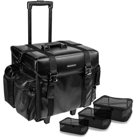 SHANY Makeup Artist Soft Rolling Trolley Cosmetic Case with Free Set of Mesh Bags - Head