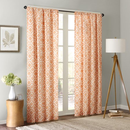 Orange Curtains for Living Room, Modern Contemporary Fabric Curtains for  Bedroom, Delray Diamond Print Rod Pocket Window Curtains, 42x84, 1-Panel ...