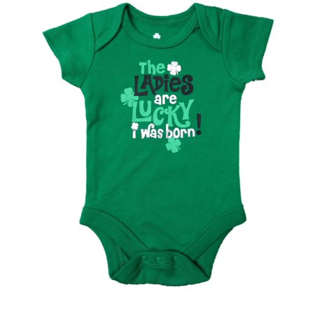 Infant Ladies Are Lucky St Patricks Day Single Clover Shamrock Baby