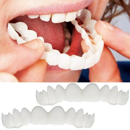2Pcs Comfort Fit Flex Cosmetic Teeth Denture Teeth Top Cosmetic Veneer (Fitting Beads For Cosmetic Teeth)