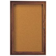 Aarco Products WBC3624R 1-Door Enclosed Bulletin Board - Walnut
