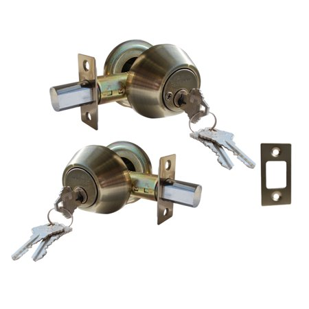 - Constructor Deadbolt Door Lock Set with Double Cylinder Antique Bronze Finish