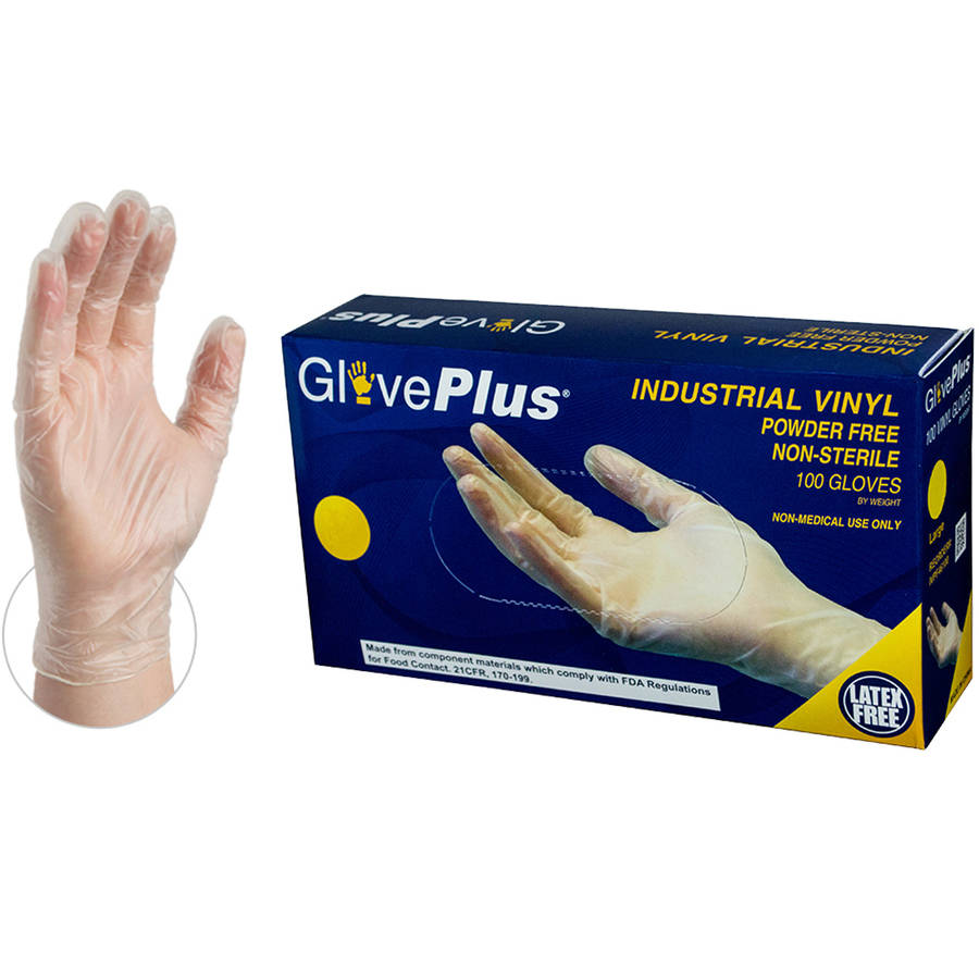 GloevPlus Clear Vinyl Industrial Disposable Gloves, Small by AMMEX by GlovePlus
