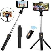 3 in 1 Extendable Selfie Stick Tripod with Detachable Bluetooth Wireless Remote Phone Holder Compatible with iPhone and Android Smartphone