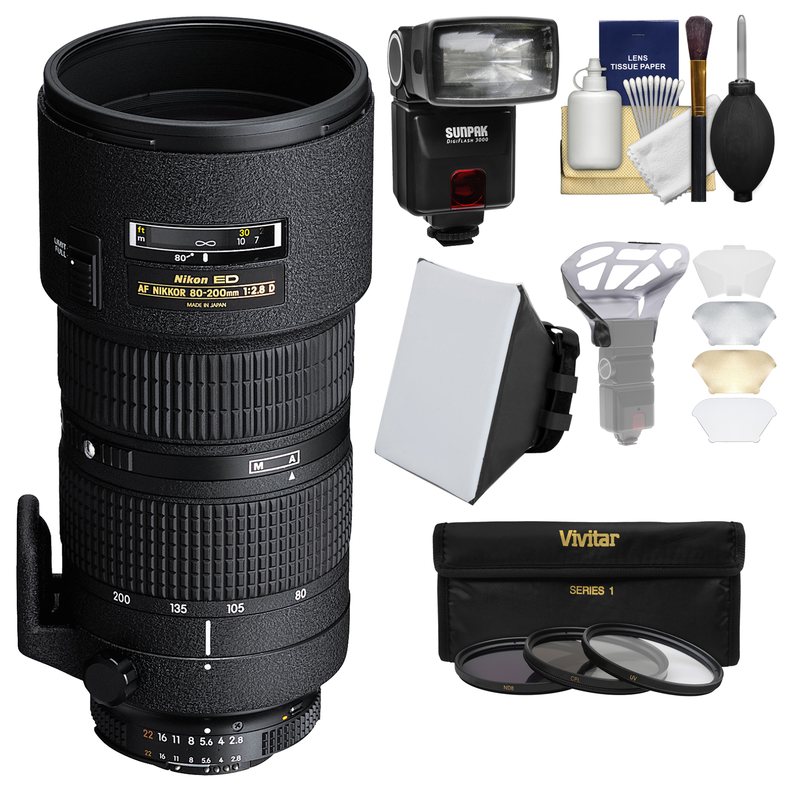 Nikon 80-200mm f/2.8D ED AF Zoom-Nikkor Lens with iTTL Flash + Soft Box + Bouncer + 3 Filters Kit for D3300, D5300, D5500, D7100, D7200, D610, D750, D810, D4s Cameras
