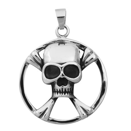 Stainless Steel 316L Crossed Bones Skull in a Circle Pendant (Necklace not Included)