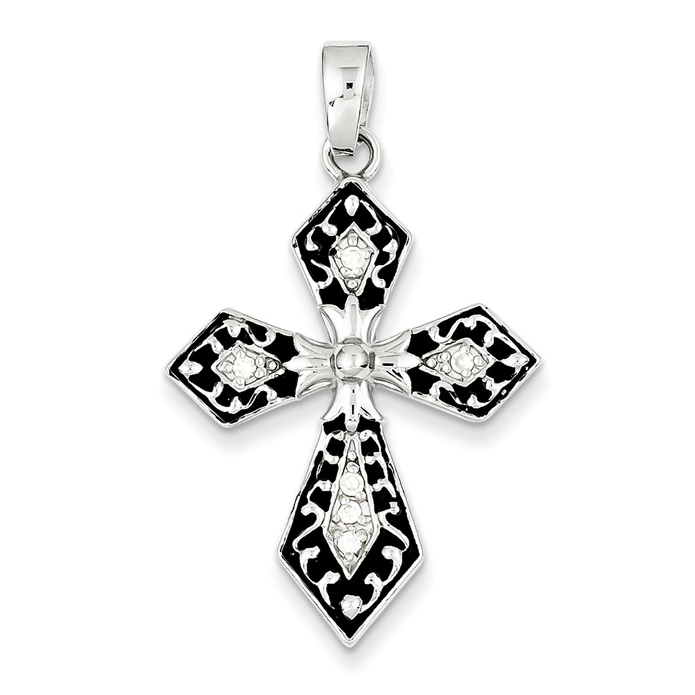 Sterling Silver Rhodium Plated CZ Black Enameled Cross Pendant