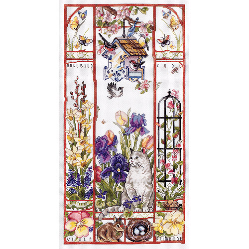 "Janlynn Spring Cat Sampler Counted Cross Stitch Kit, 8"" x 16"", 14 Count"