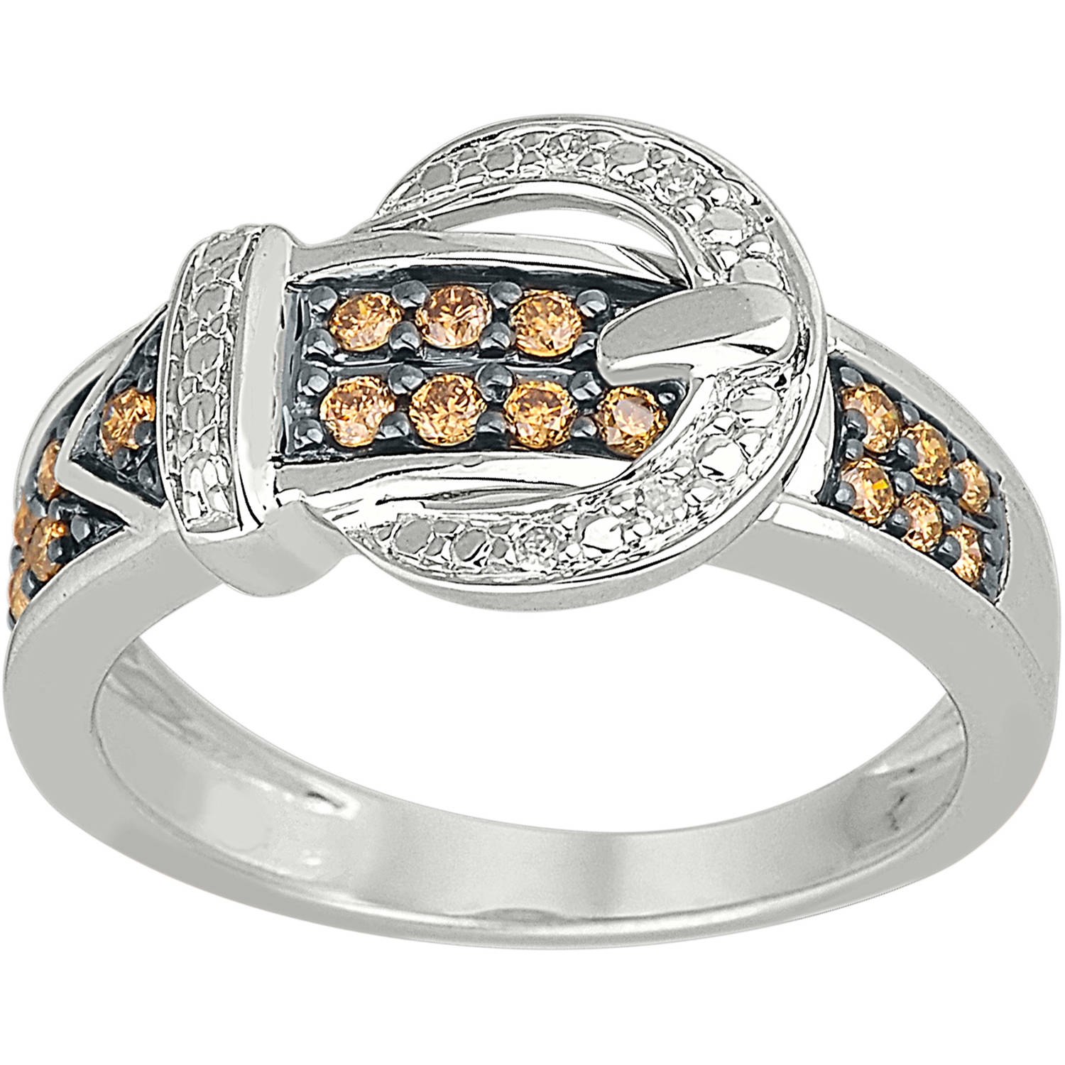 1/4 Carat T.W. Champagne and White Diamond 10kt White Gold Buckle Ring